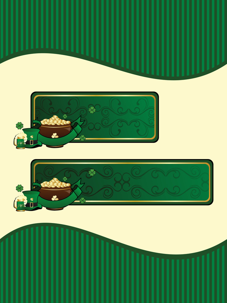 Background With Set Of Patricks Day Banner