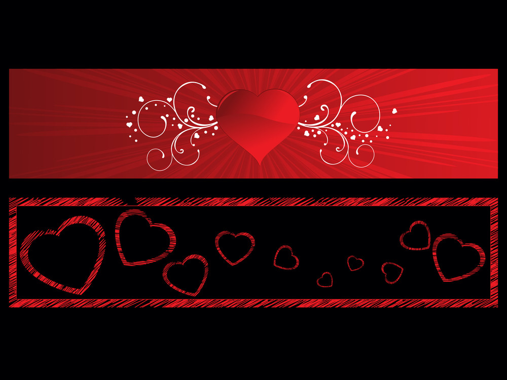 Background With Set Of Romantic Header