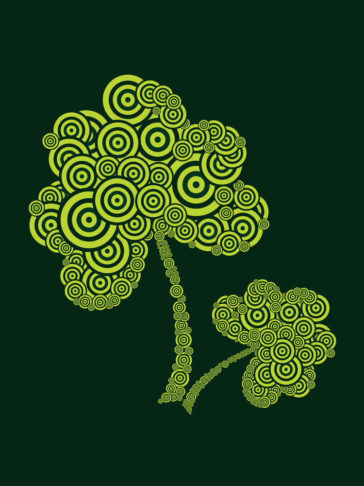 Background With Set Of Spiral Pattern Shamrock