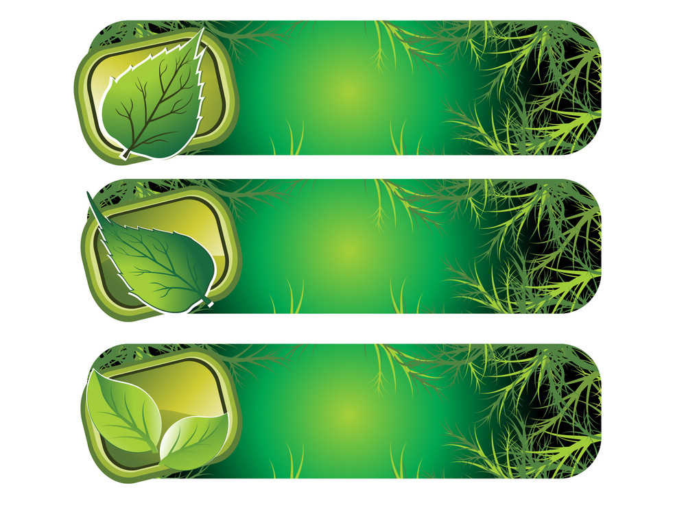 Background With Set Of Three Ecology Banner