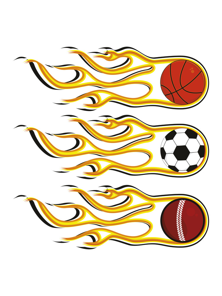 Background With Set Of Three Fiery Sports Balls