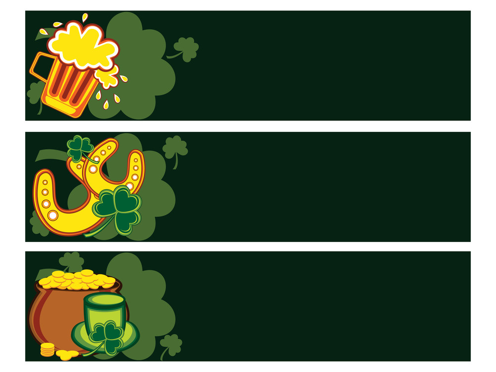 Background With Set Of Three Patrick Day Banner