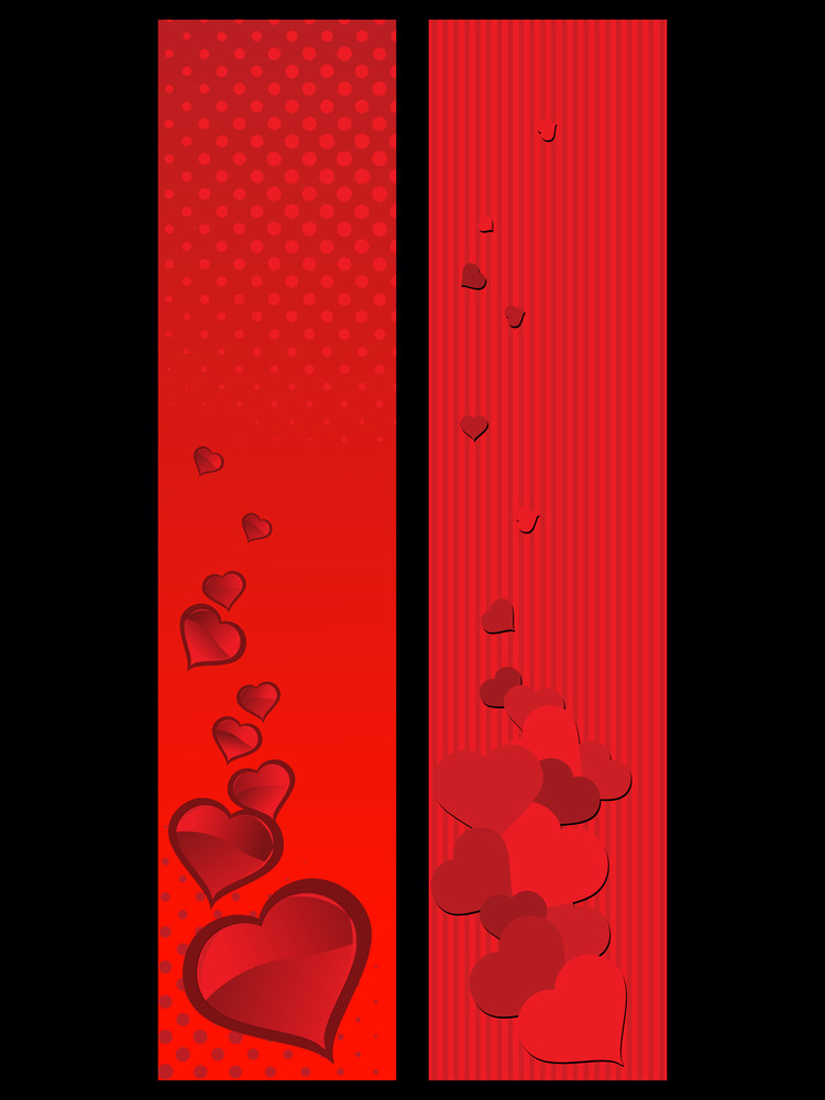Background With Set Of Two Romantic Header