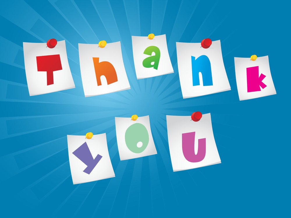 Background With Thank You Word Notes Chip