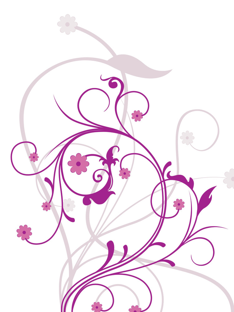 Background With White Purple Floral
