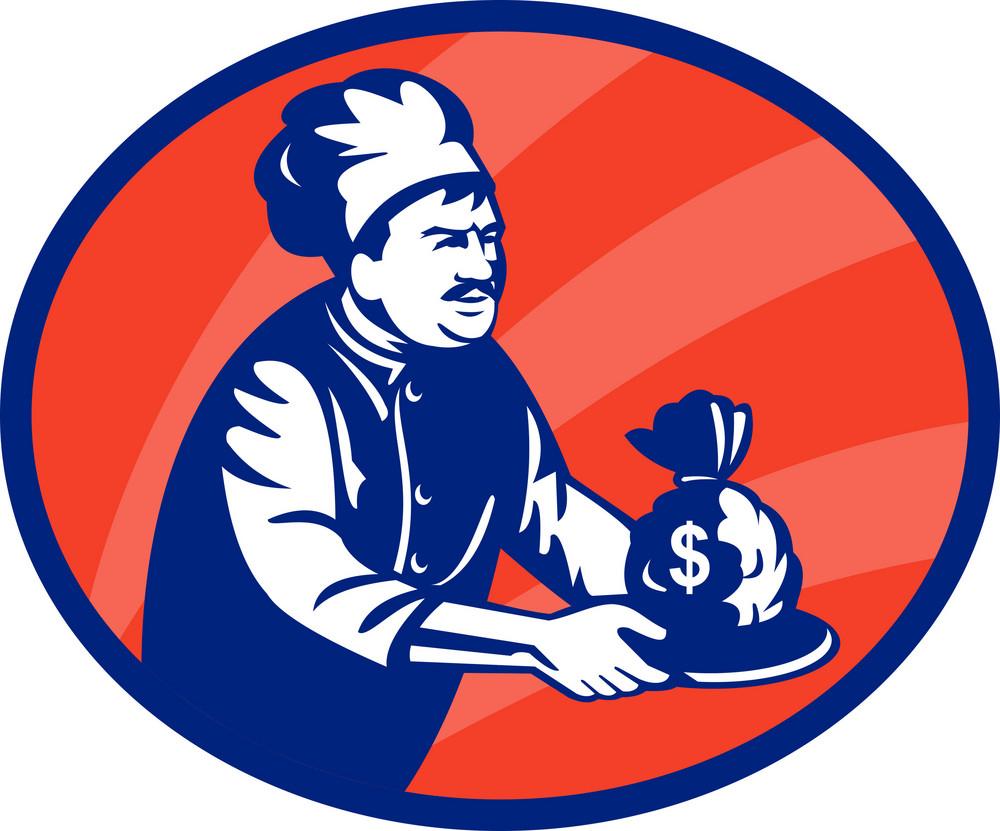 Baker Chef Or Cook Serving Up Bag Of Money