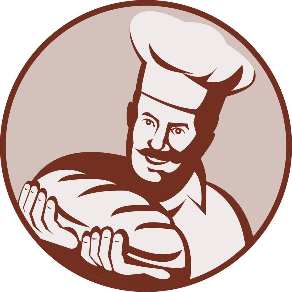 Baker Holding Bread Loaf