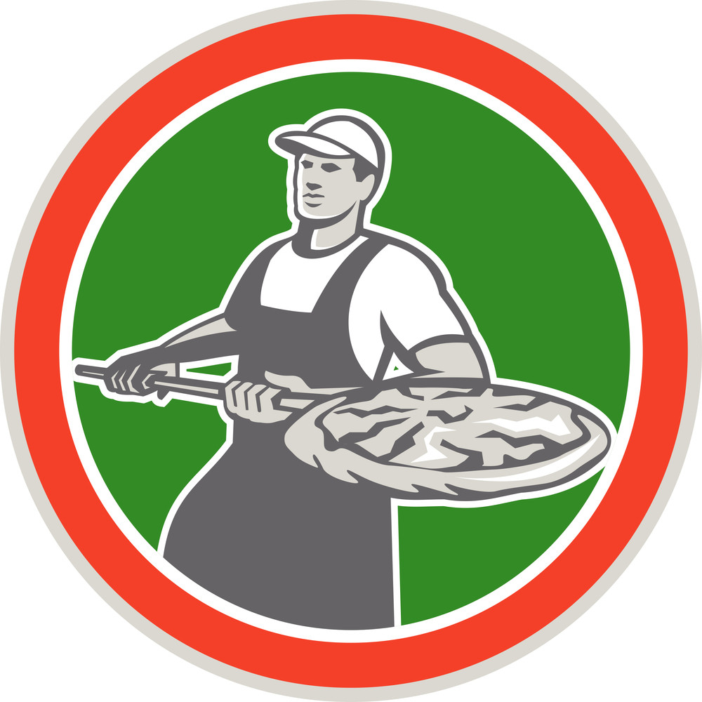 Baker Holding Peel With Pizza Circle Retro