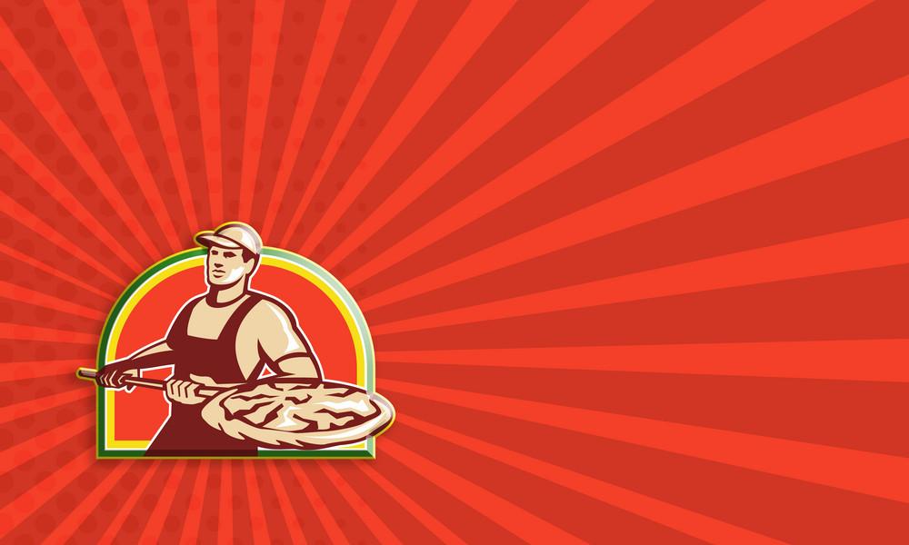 Baker Holding Peel With Pizza Pie Retro