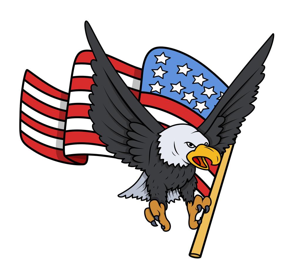 Bald Eagle With American Flag Patriotic Vector