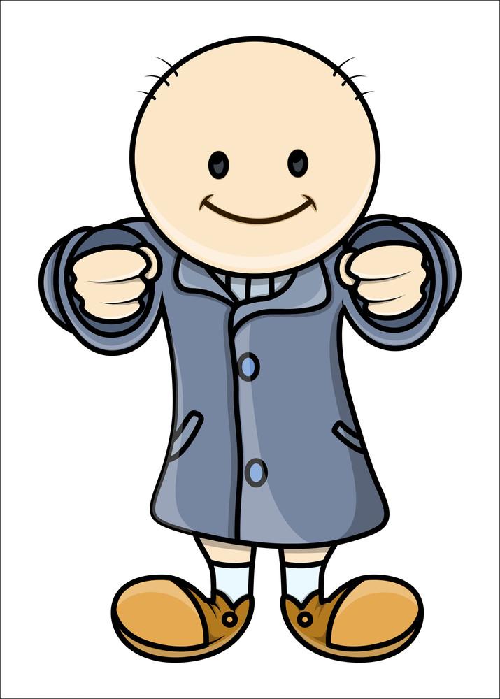 Bald Kid In Raincoat
