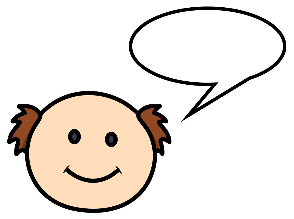 Bald Man Saying In Speech Bubble - Vector Cartoon Illustration