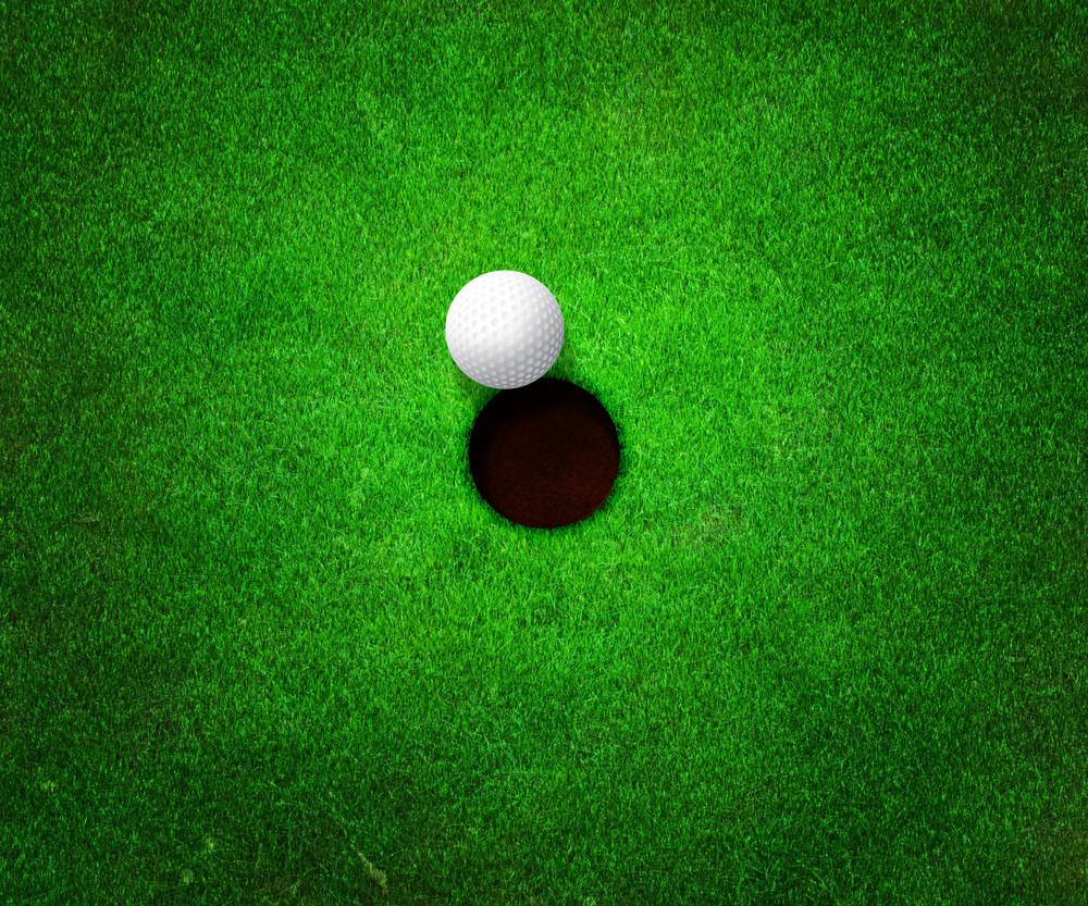 Ball Near Hole Golf Background