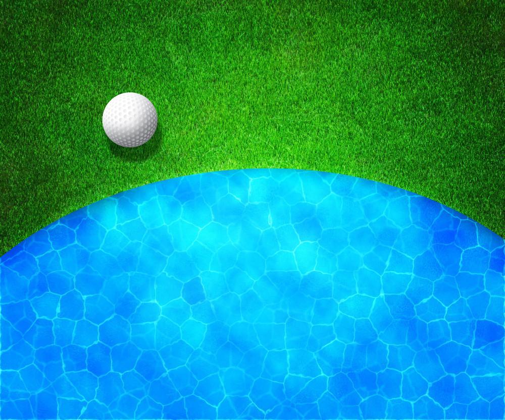 Ball Near Water Golf Background