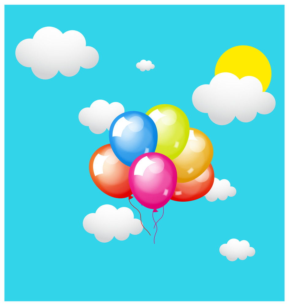 Balloons Flying In Sky With Clouds
