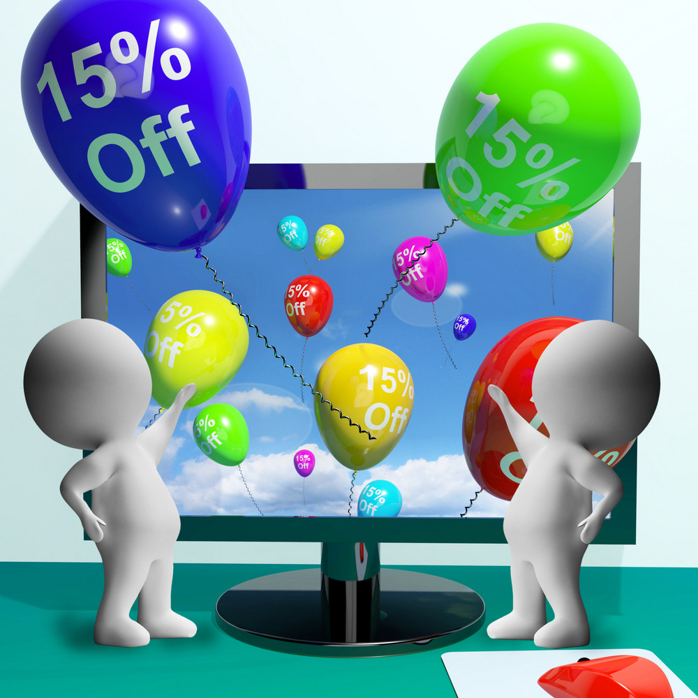Balloons From Computer Showing Sale Discount Of Fifteen Percent