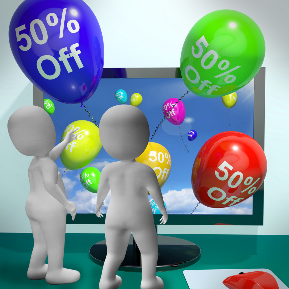 Balloons From Computer Showing Sale Discount Of Forty Percent