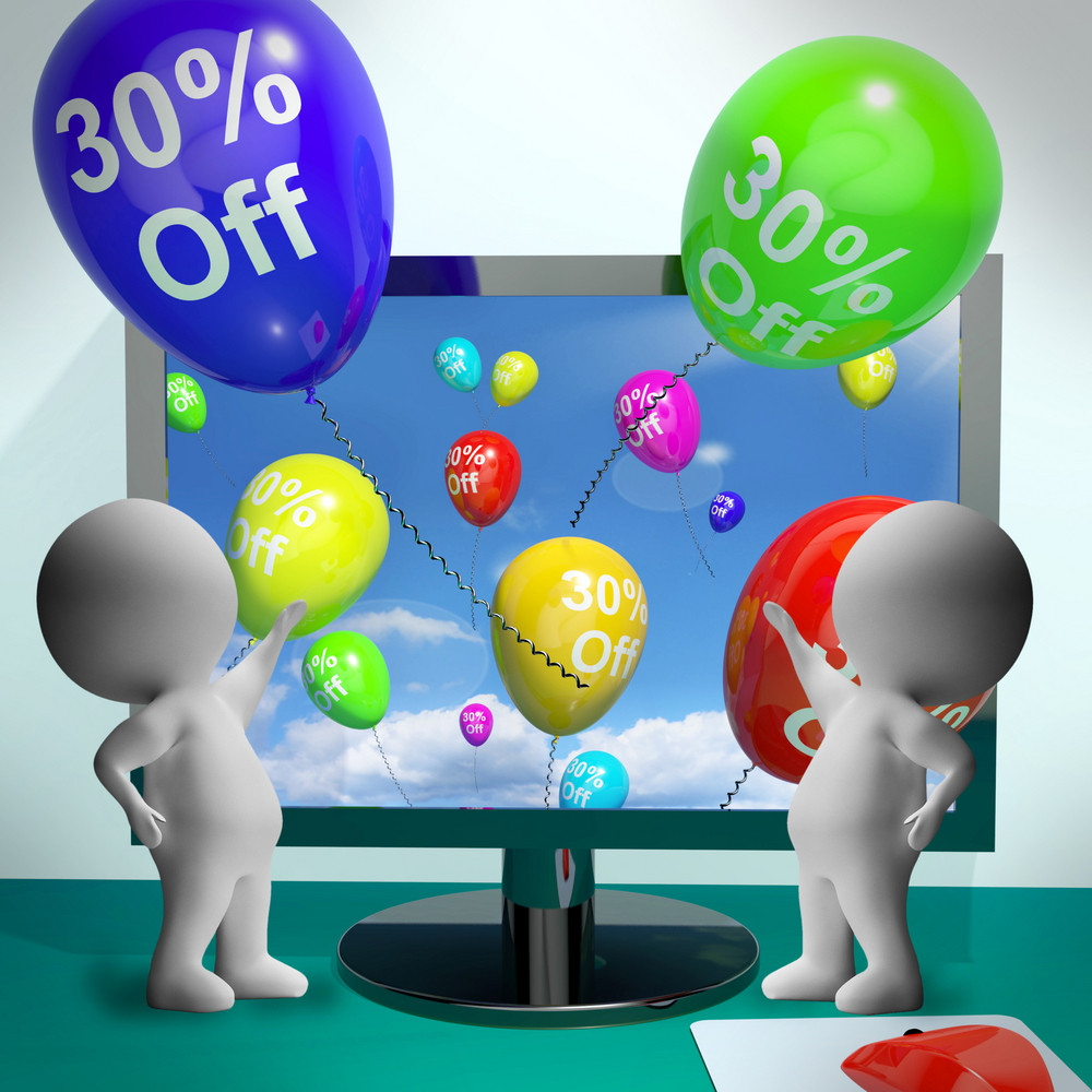 Balloons From Computer Showing Sale Discount Of Thirty Percent
