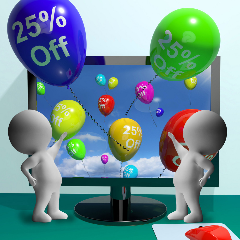 Balloons From Computer Showing Sale Discount Of Twenty Five Percent