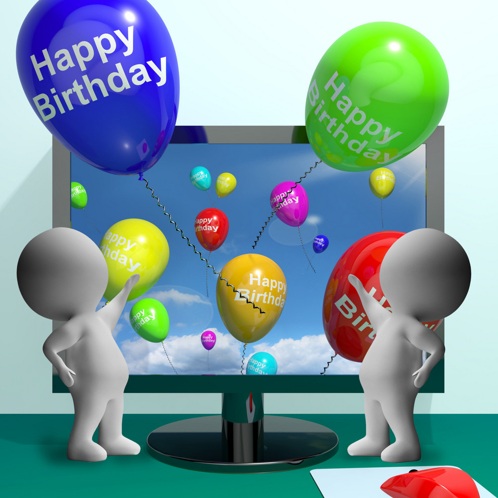 Balloons Greeting From Computer Celebrates Happy Birthday