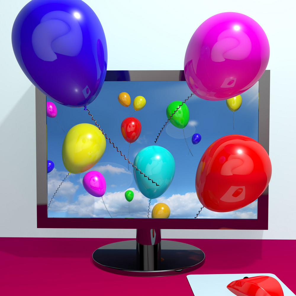 Balloons In The Sky And Coming Out Of Screen For Online Greeting Or Www Message