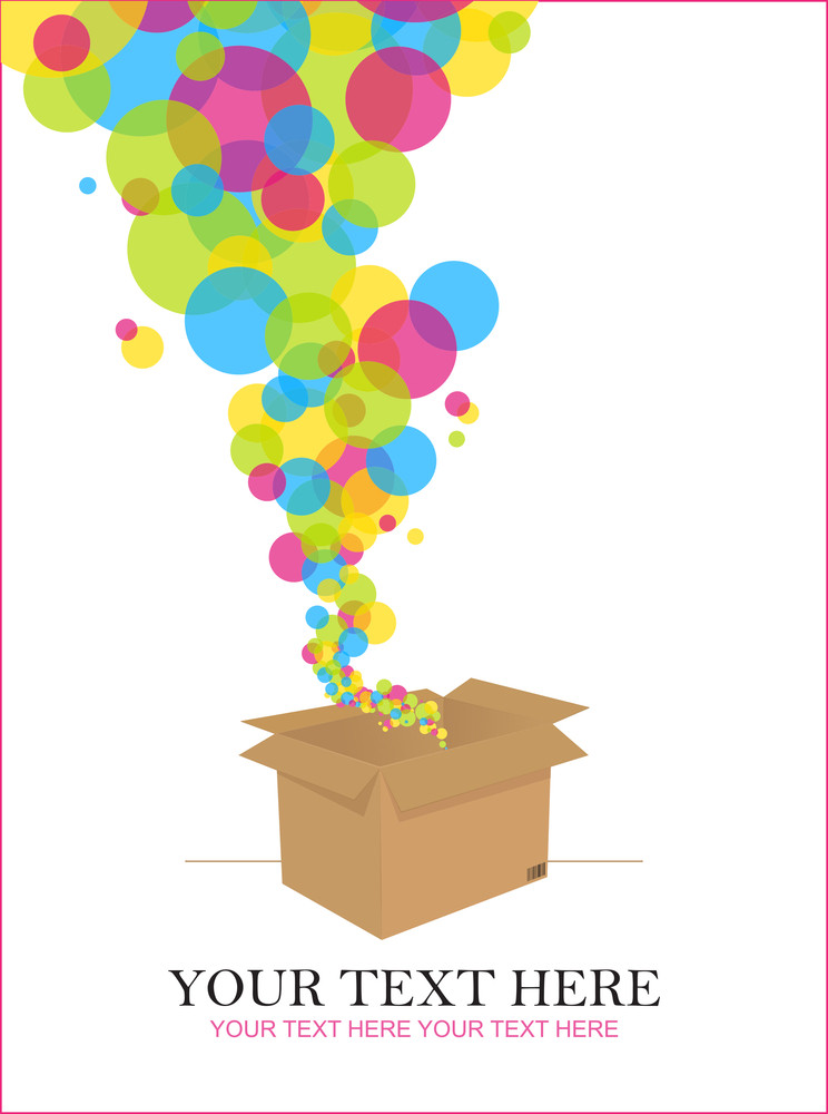 Balloons Taking Off From A Box. Abstract Vector Illustration.
