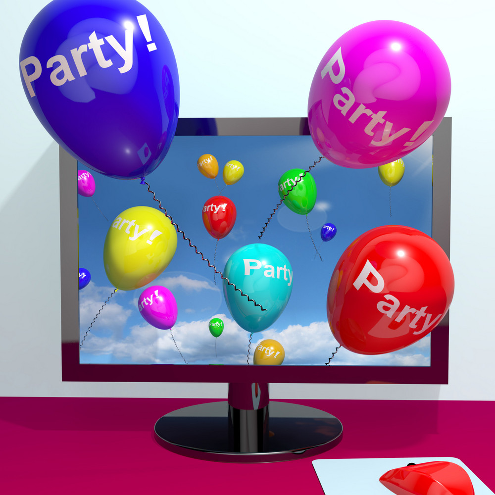 Balloons With Party Text Showing Invitation Sent Online
