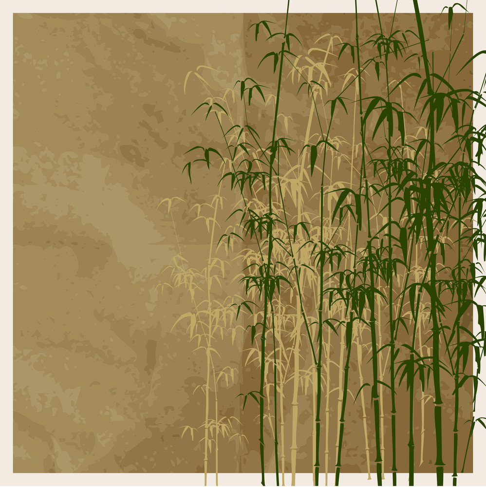 Bamboo Vector Illustration On A Brown Paper-background.