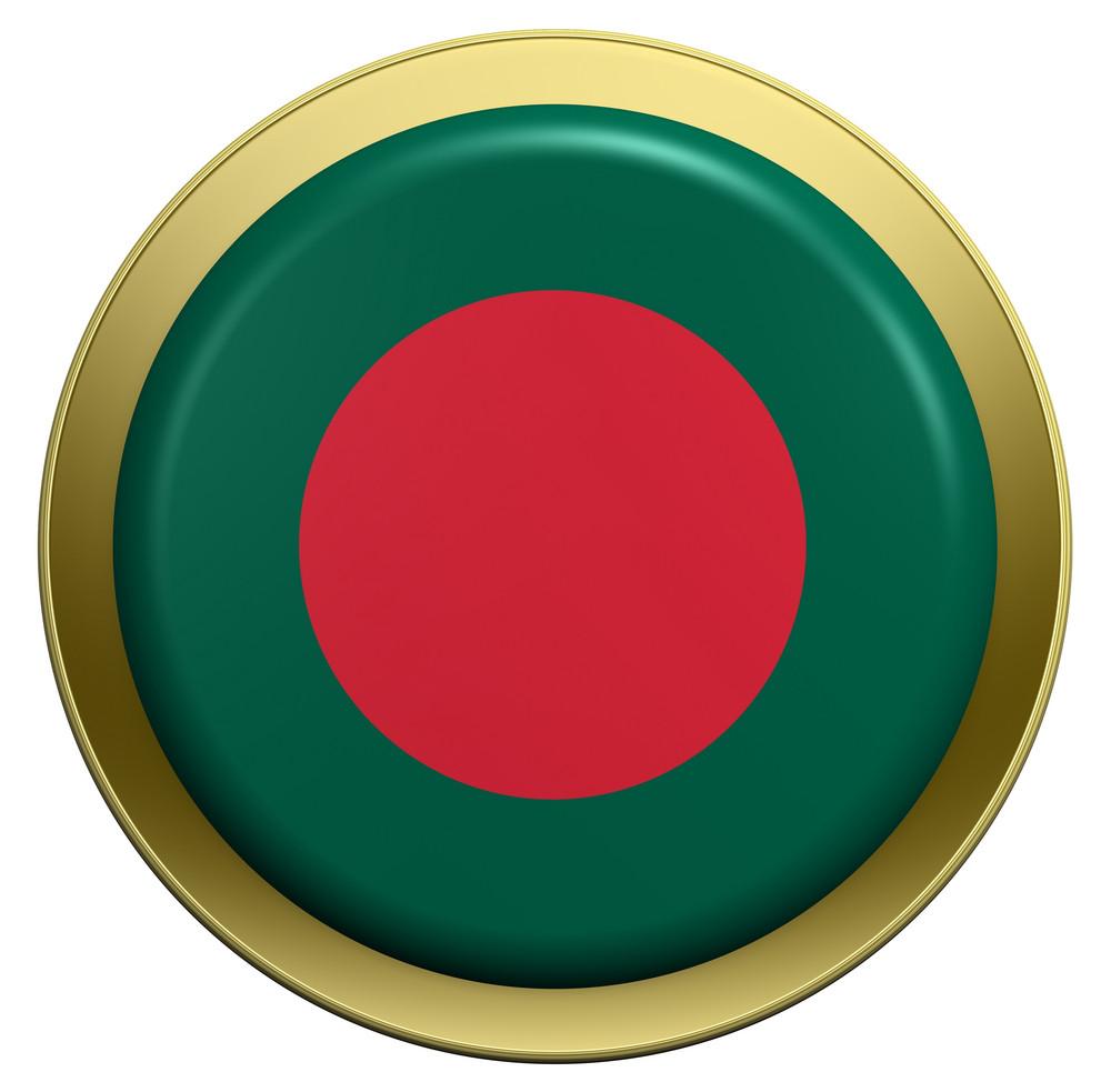 Bangladesh Flag On The Round Button Isolated On White.