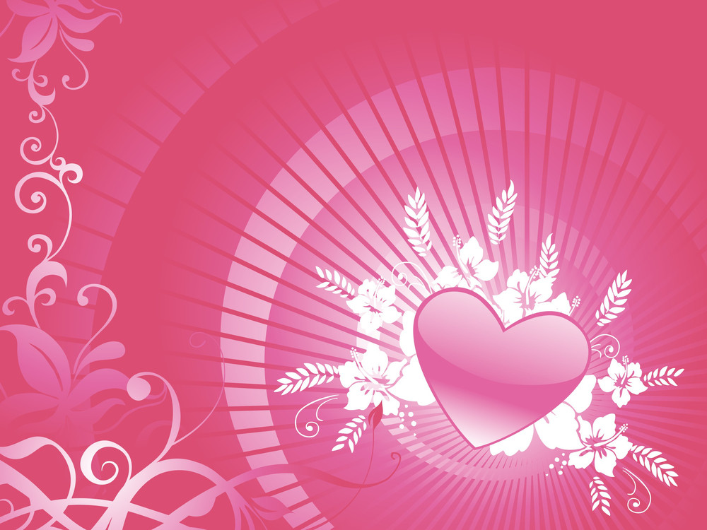 Banner Creative Heart And Swirls On Flourish Background