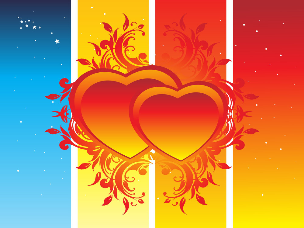 Banner Floral Heart With Stars