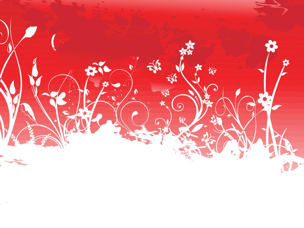Banner Grunge Floral Background