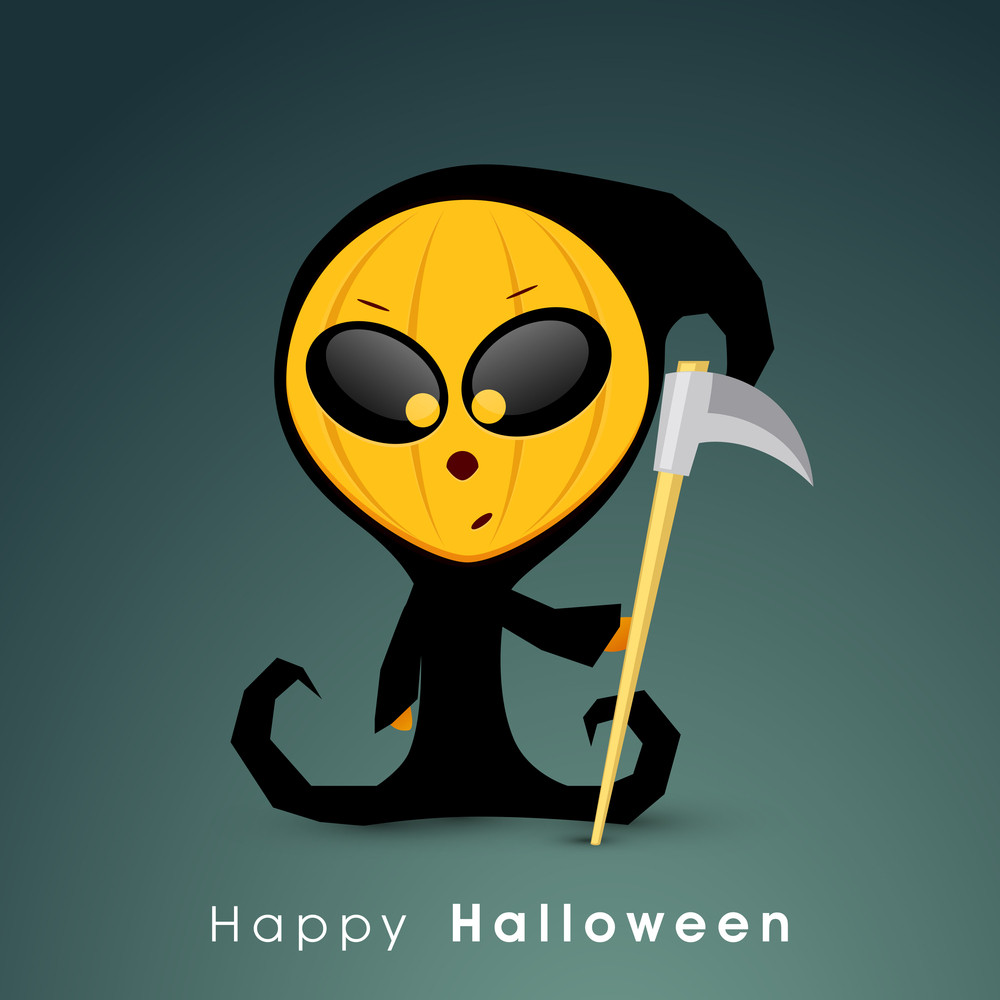 Banner Or Background For Halloween Party Concept With Ghost On Green Background.