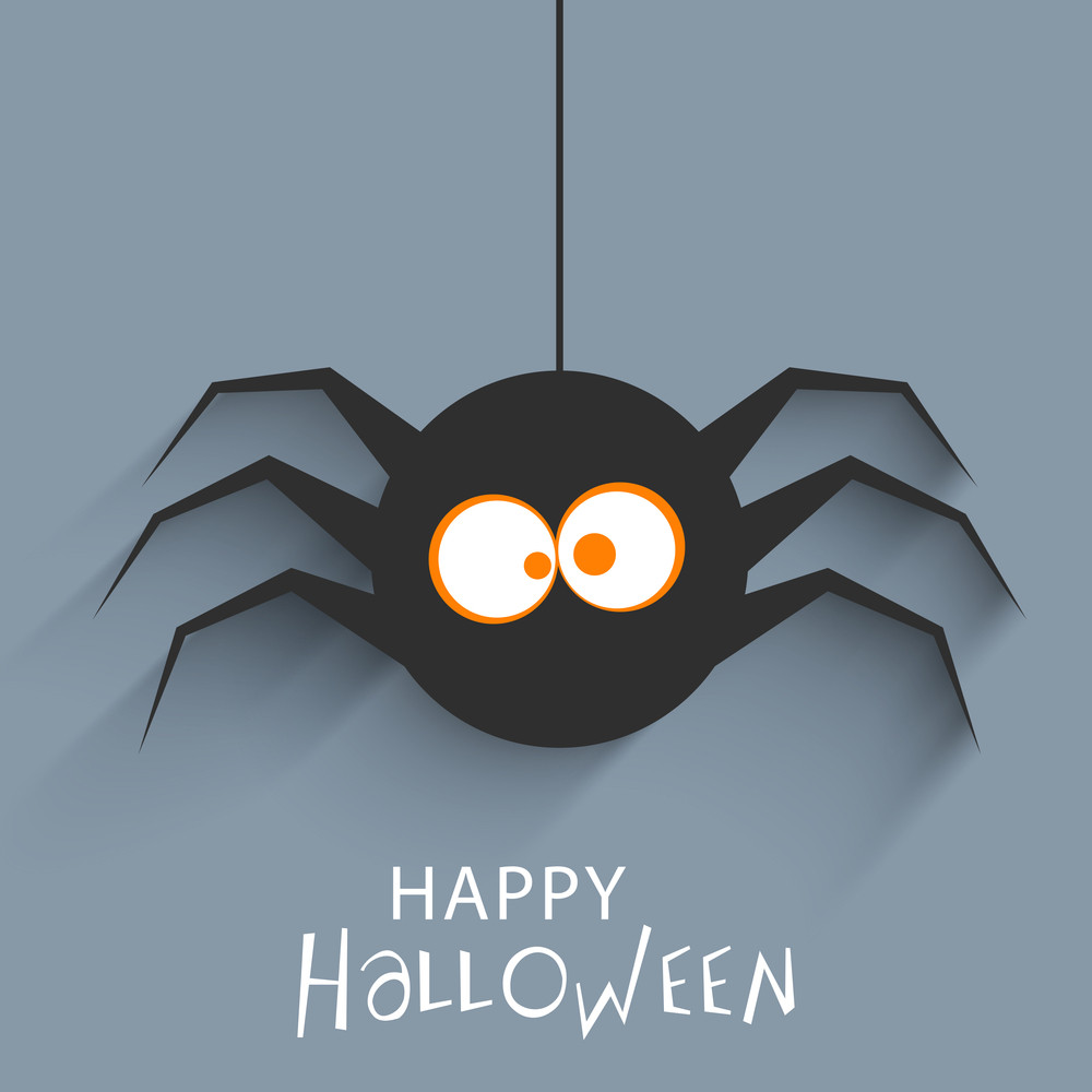 Banner Or Background For Halloween Party Concept With Hanging Spider On Grey Background.