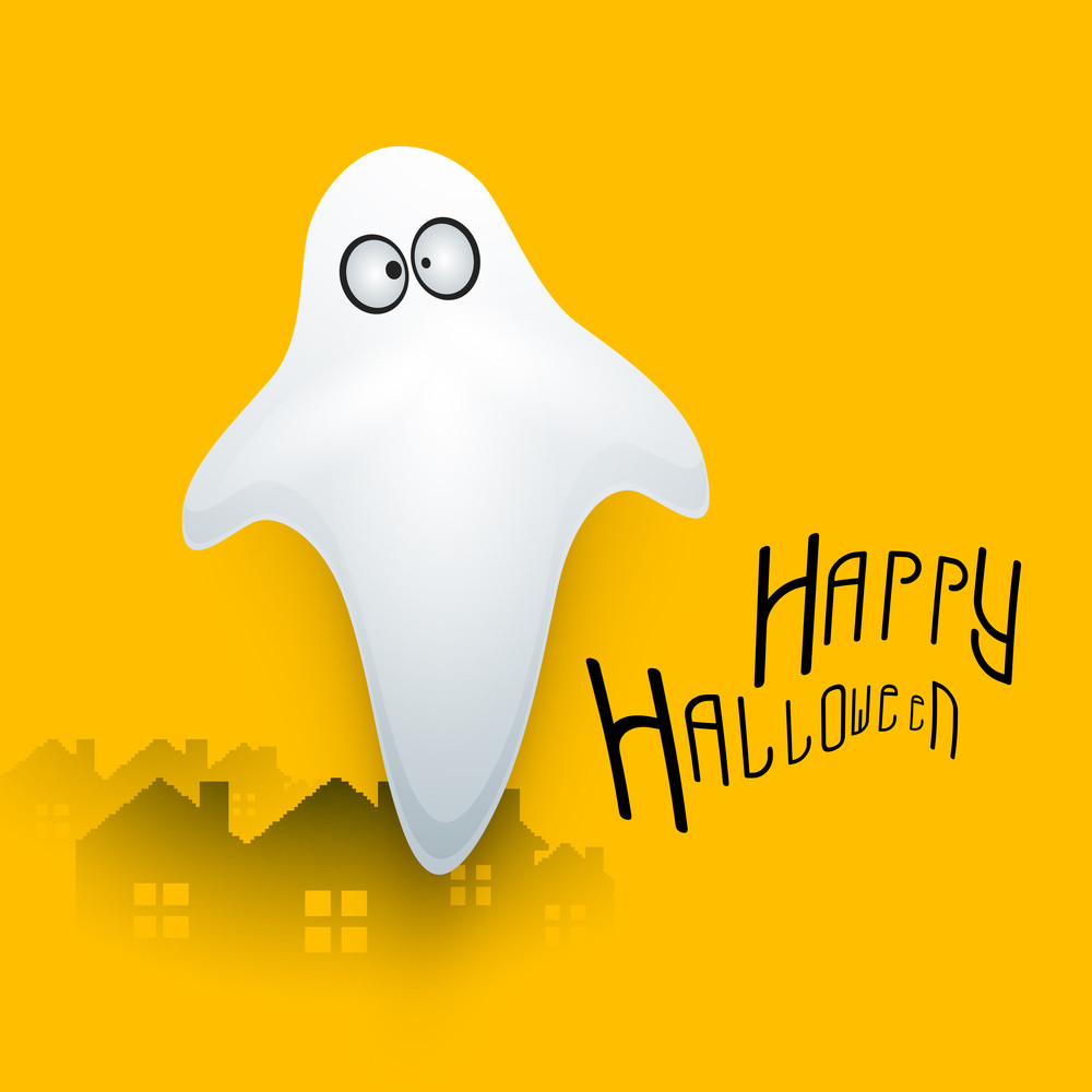 Banner Or Background For Halloween Party Concept With Illustration Of A Ghost On Yellow Background.