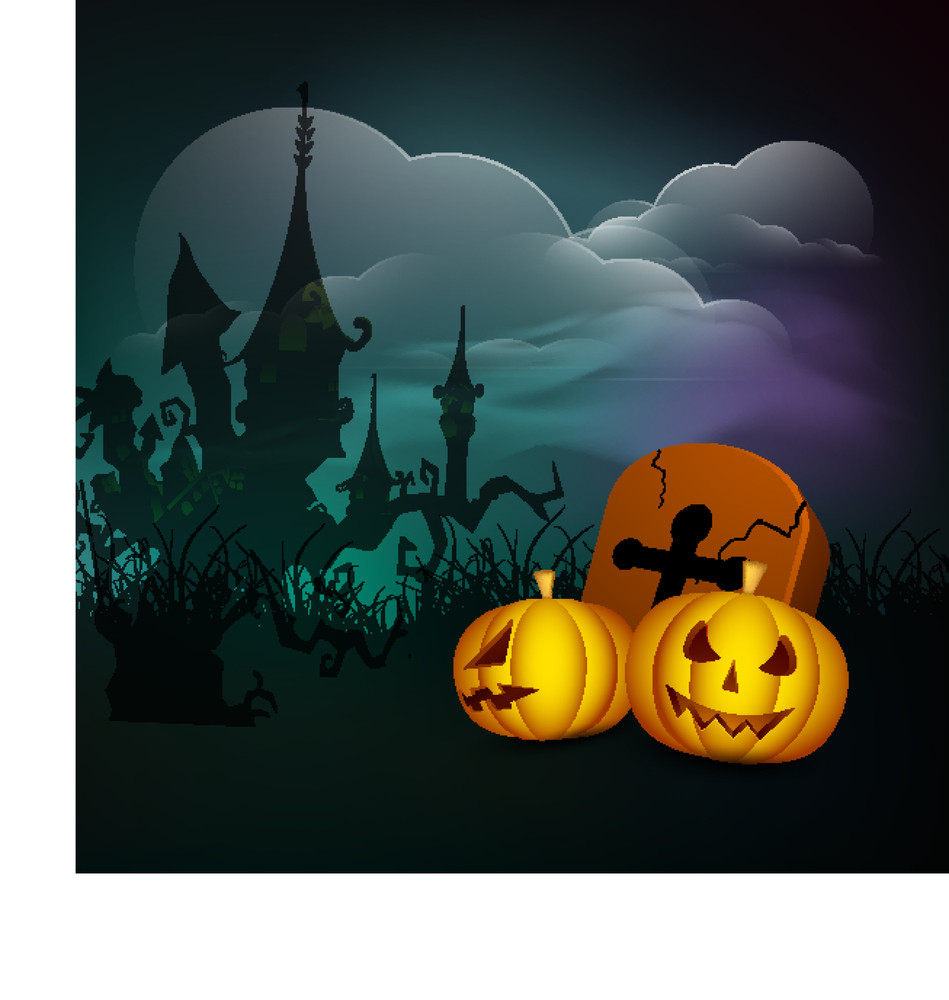 Banner Or Background For Halloween Party Concept With Pumpkins On Night Background.