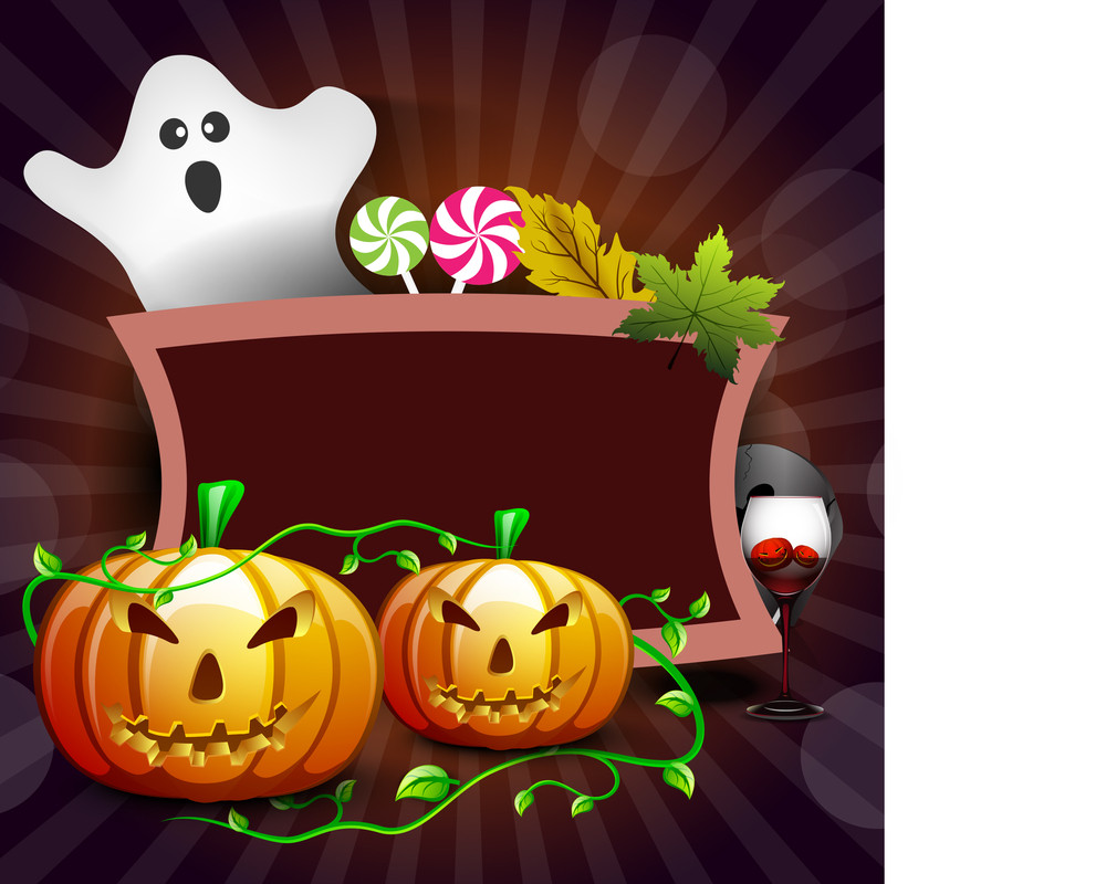 Banner Or Background For Halloween Party Concept With Pumpkins