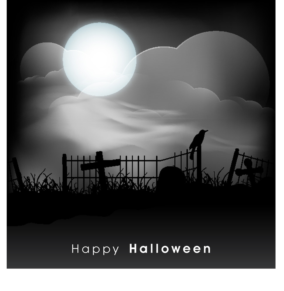 Banner Or Background For Halloween Party Concept With Scary Haunted Night.