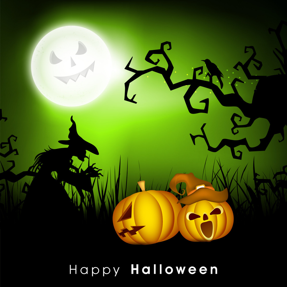 Banner Or Background For Halloween Party Concept With Scary Pumpkin