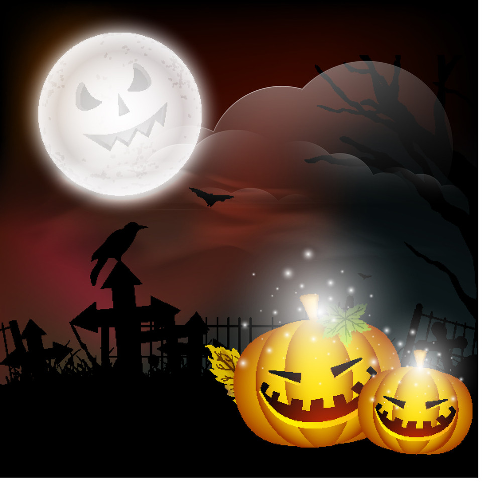 Banner Or Background For Halloween Party Concept With Scary Pumpkins On Night Background.