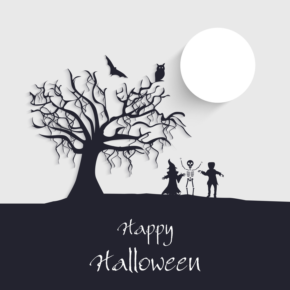 Banner Or Background For Halloween Party Concept With Sihlouette Of Ghost