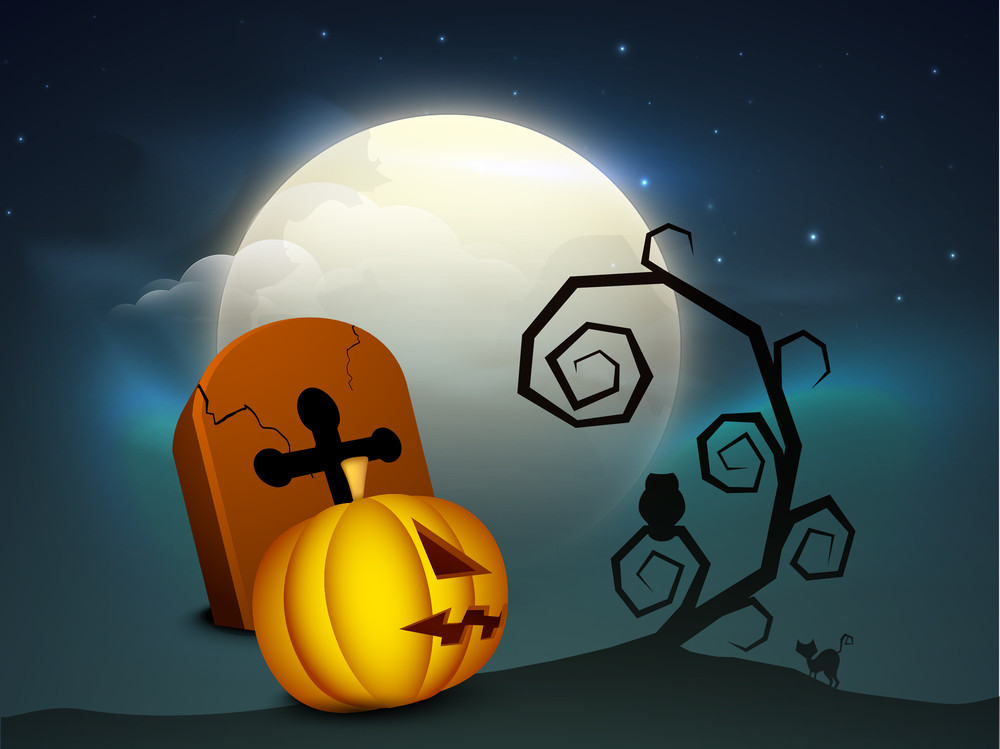 Banner Or Background For Halloween Party Grave Stone And Pumpkin.