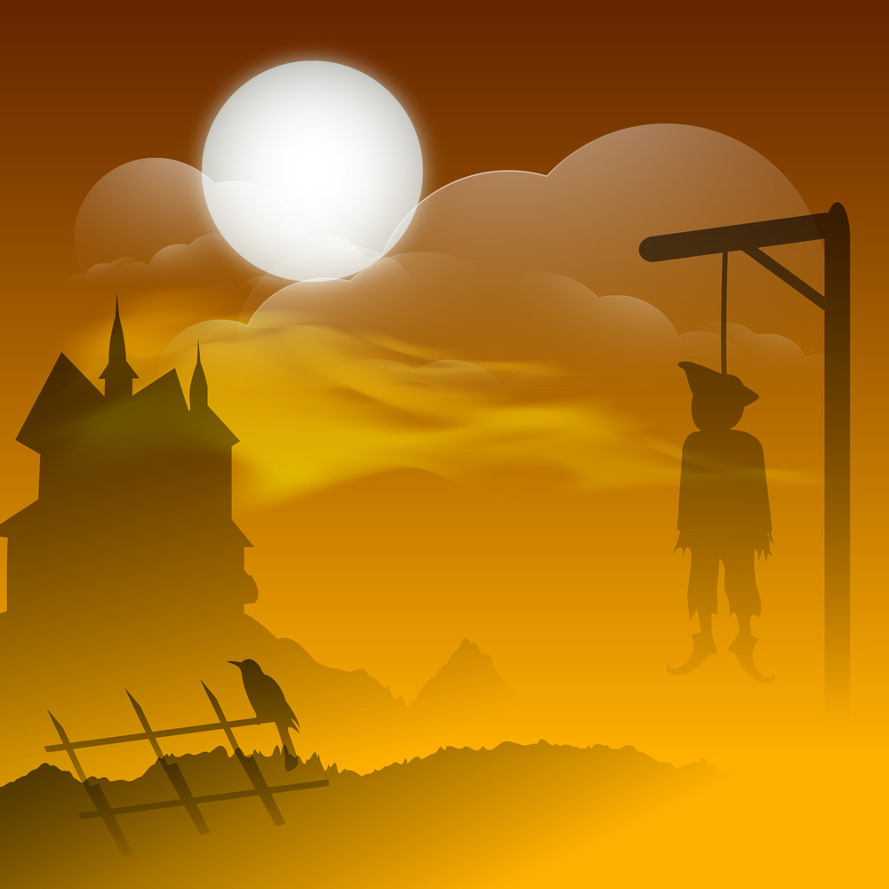 Banner Or Background For Halloween Party Night Concept With Hanging Deadbody
