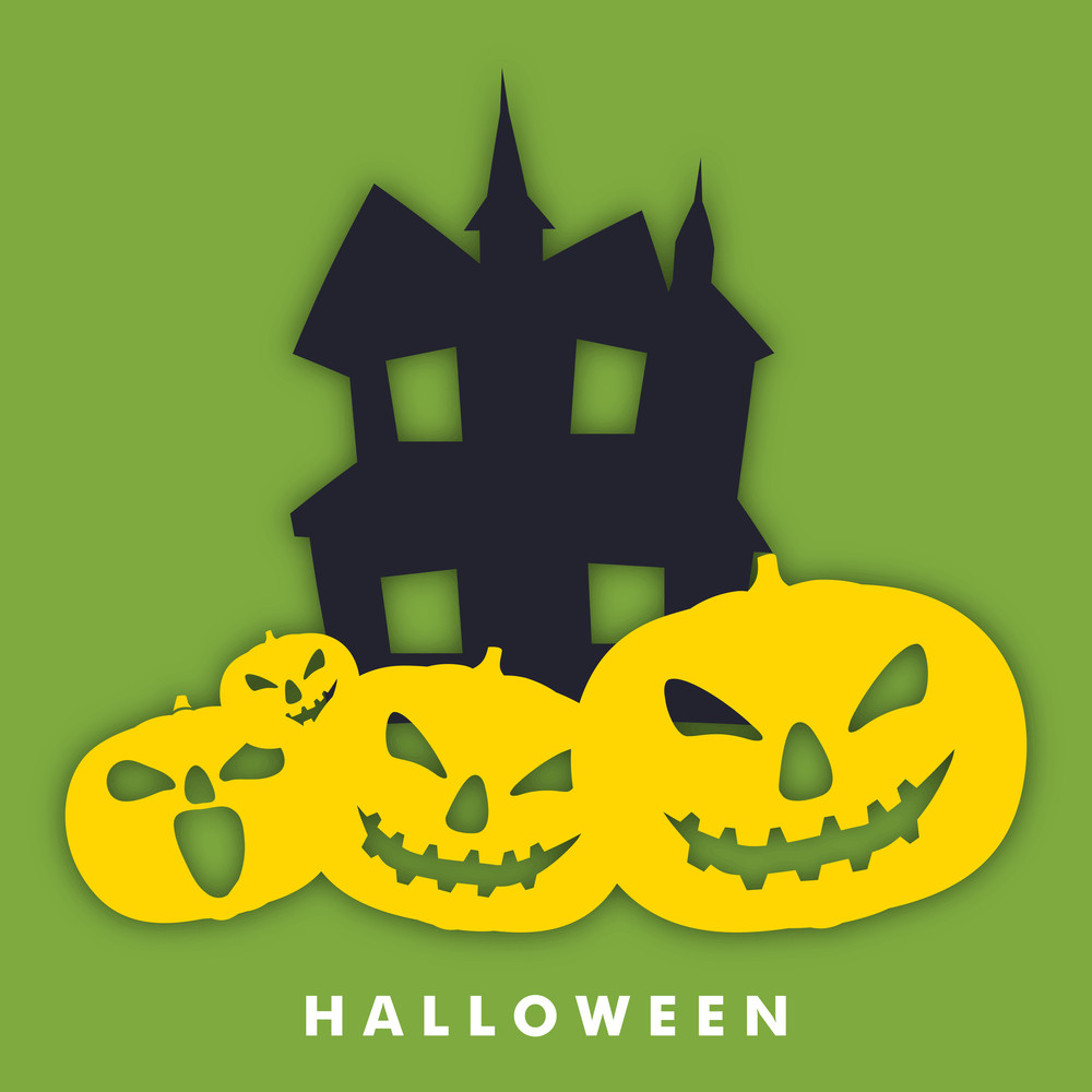 Banner Or Background For Halloween Party Night Concept With Haunted House And Scary Pumpkins On Green.