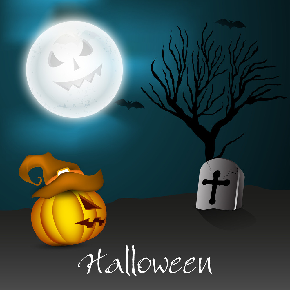 Banner Or Background For Halloween Party Night Concept With Scary Pumpkin