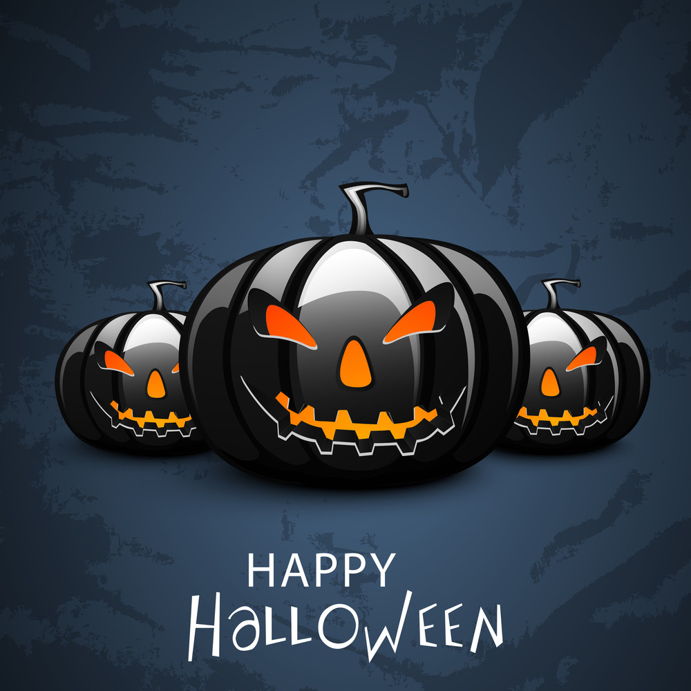 Banner Or Background For Halloween Party Night Concept With Scary Pumpkins On Grungy Blue Background.