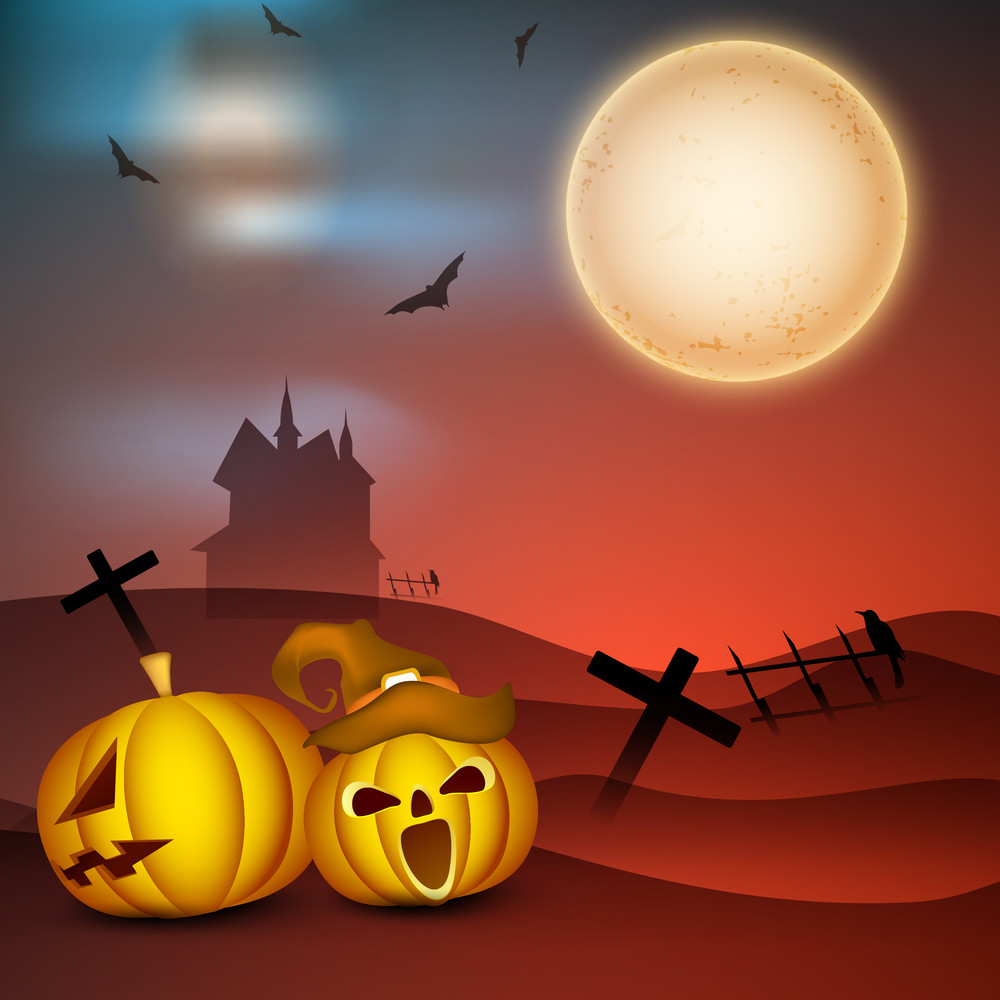 Banner Or Background For Halloween Party Night Concept With Scary Pumpkins On Night Background.