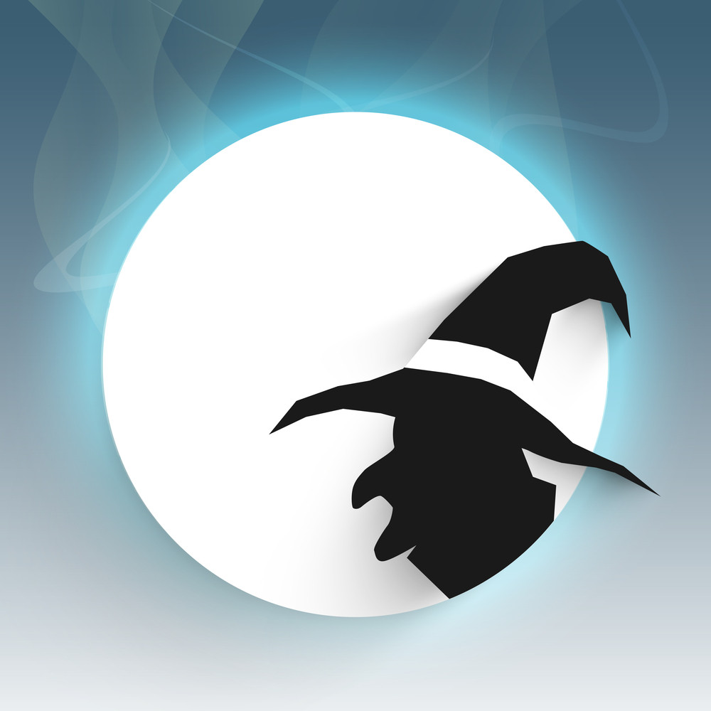 Banner Or Background For Halloween Party Night Concept With Silhouette Of A Witch