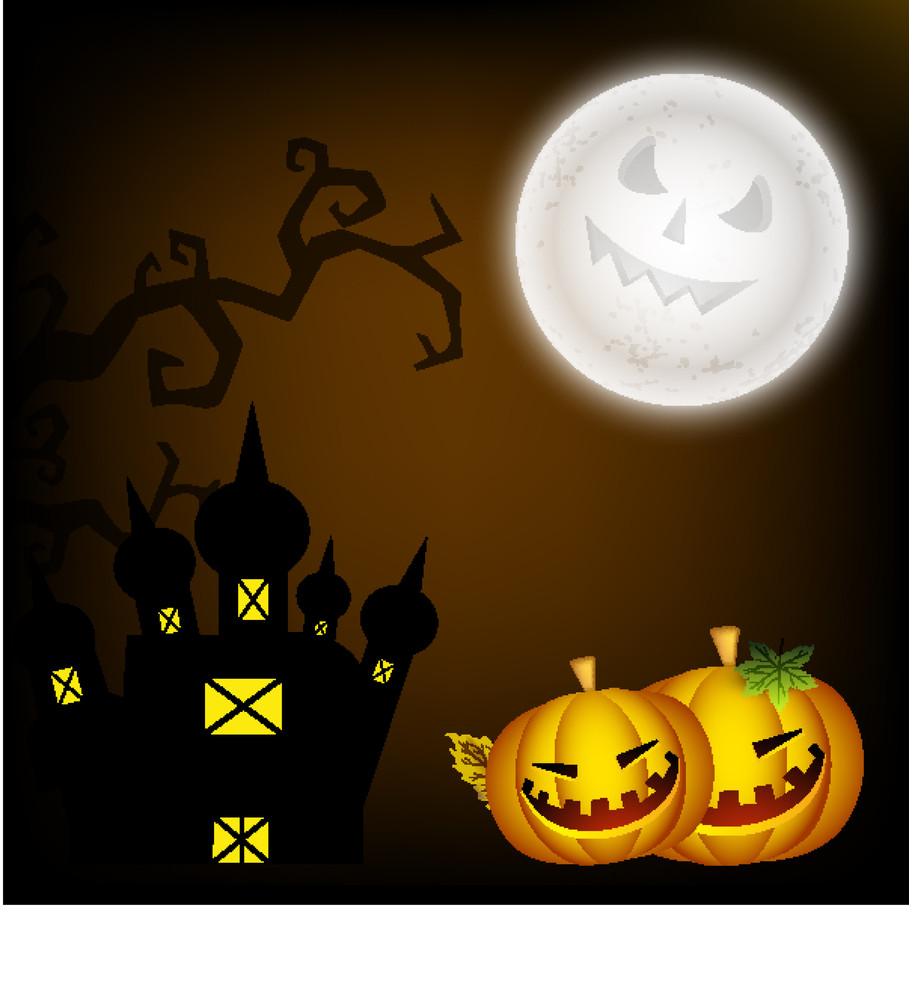 Banner Or Background For Halloween Party Night Concept With Smiling Pumpkin