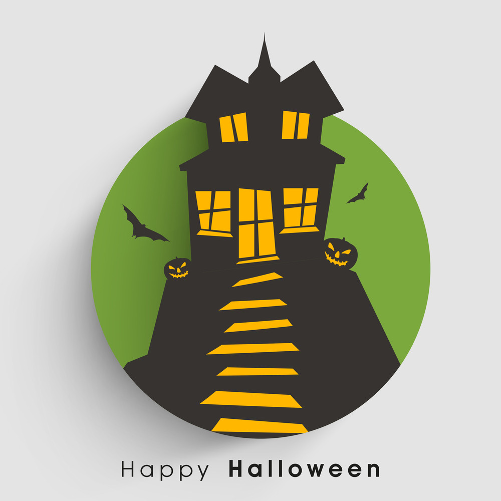 Banner Or Background For Halloween Party Night With Ahunted House On Green And Grey Background.